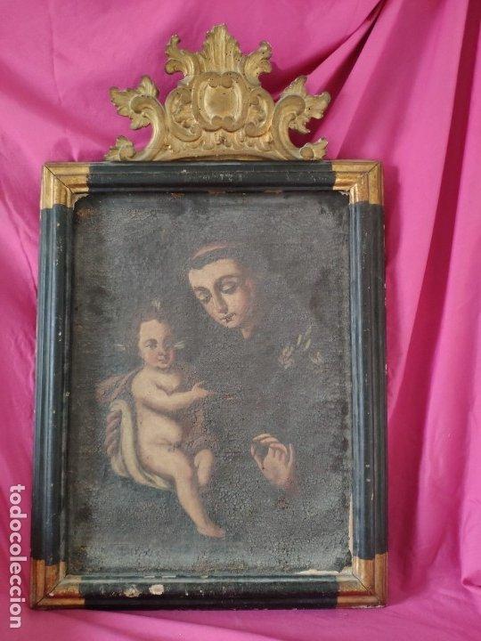 ÓLEO SOBRE LIENZO SAN ANTONIO SIGLO XVIII - 1000-075 (Arte - Arte Religioso - Pintura Religiosa - Oleo)