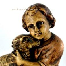 Arte: JESÚS, DIVINO PASTOR - FIGURA DE PASTA DE MADERA - OLOT - EL BUEN PASTOR - SELLADA. Lote 177773380