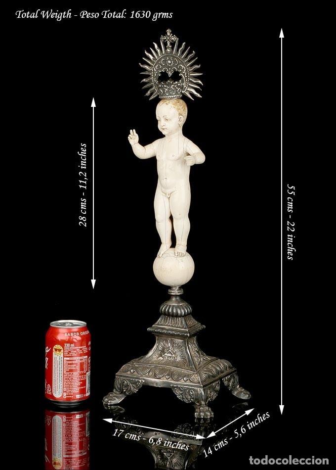Arte: Antiguo Niño Jesús en Marfil. Hispano Filipino. S. XVIII. Con CITES - Foto 6 - 177786563