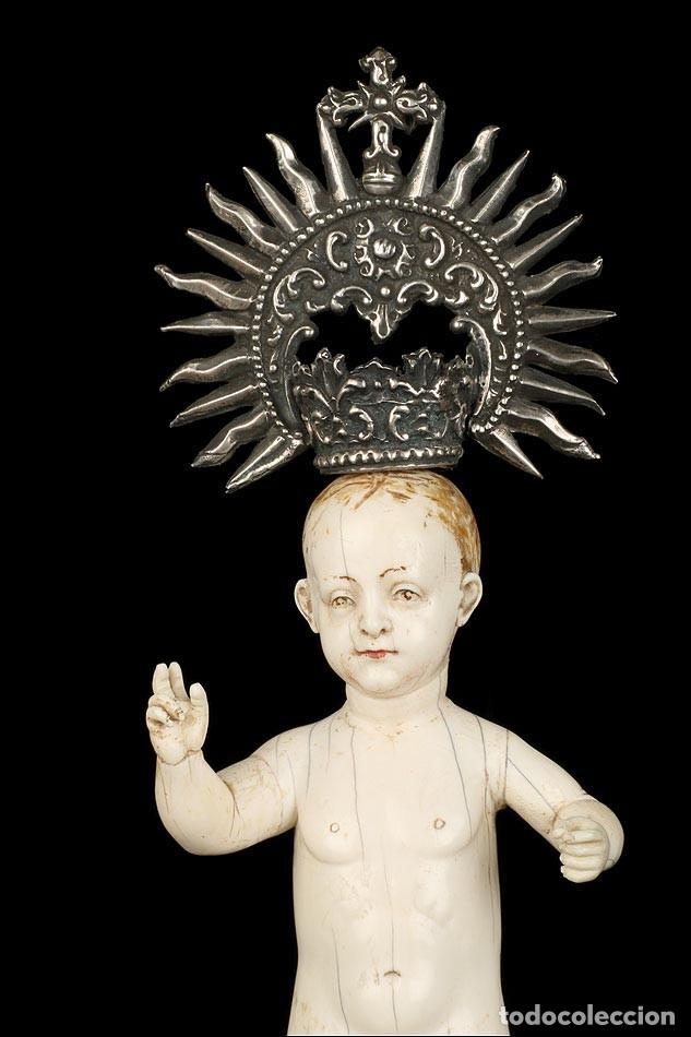 Arte: Antiguo Niño Jesús en Marfil. Hispano Filipino. S. XVIII. Con CITES - Foto 8 - 177786563