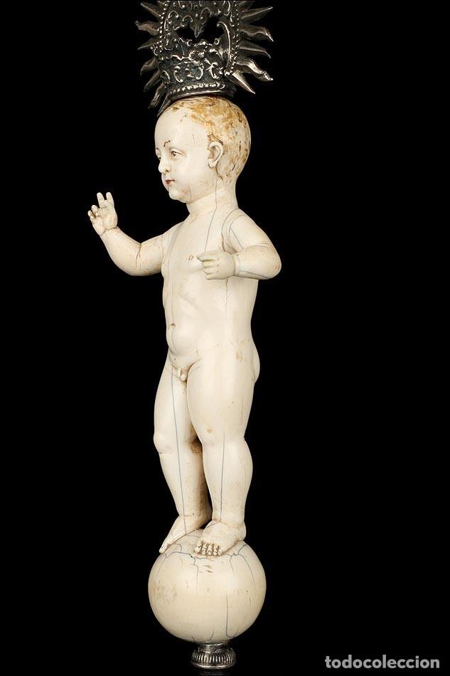 Arte: Antiguo Niño Jesús en Marfil. Hispano Filipino. S. XVIII. Con CITES - Foto 14 - 177786563