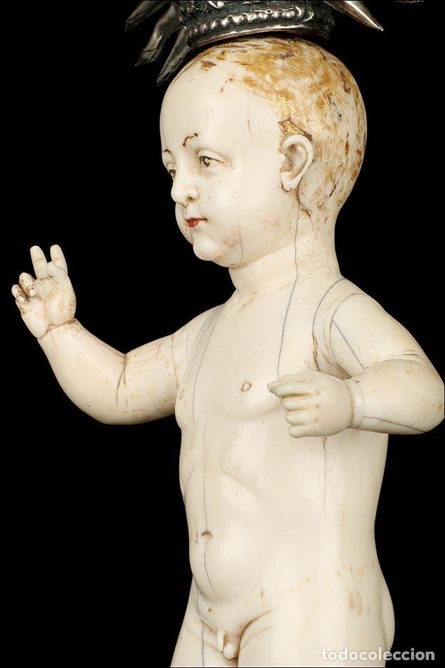 Arte: Antiguo Niño Jesús en Marfil. Hispano Filipino. S. XVIII. Con CITES - Foto 15 - 177786563