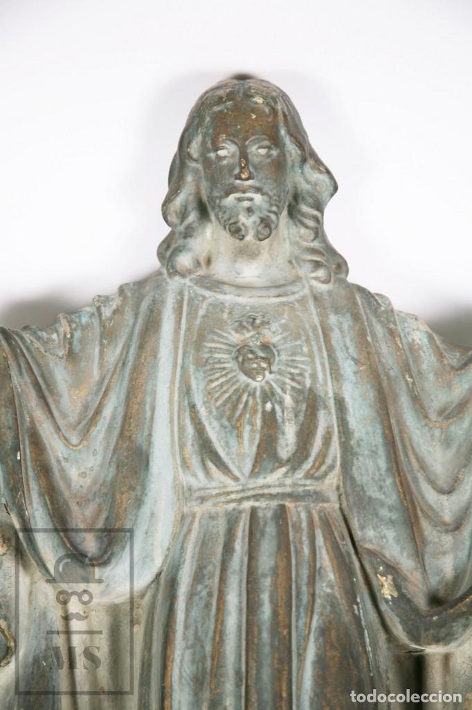 Arte: Antigua Escultura de Terracota Gran Formato - Sagrado Corazón - Policromía Verde - Siglo XIX - Foto 22 - 177880543