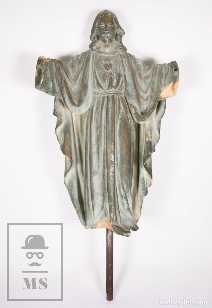 Arte: Antigua Escultura de Terracota Gran Formato - Sagrado Corazón - Policromía Verde - Siglo XIX - Foto 2 - 177880543
