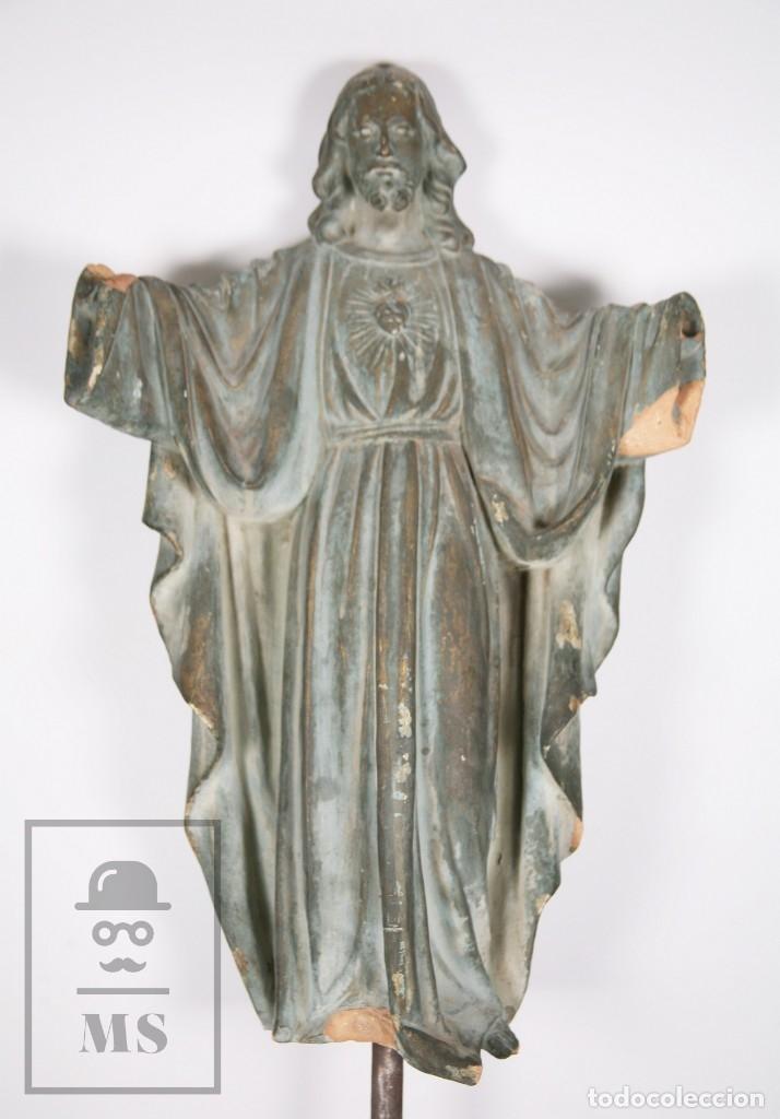 Arte: Antigua Escultura de Terracota Gran Formato - Sagrado Corazón - Policromía Verde - Siglo XIX - Foto 3 - 177880543