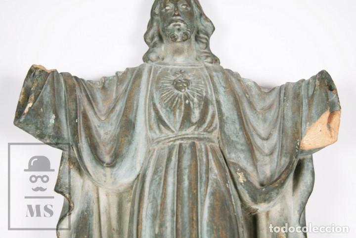 Arte: Antigua Escultura de Terracota Gran Formato - Sagrado Corazón - Policromía Verde - Siglo XIX - Foto 4 - 177880543