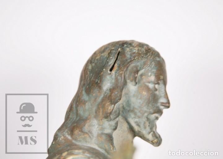 Arte: Antigua Escultura de Terracota Gran Formato - Sagrado Corazón - Policromía Verde - Siglo XIX - Foto 5 - 177880543
