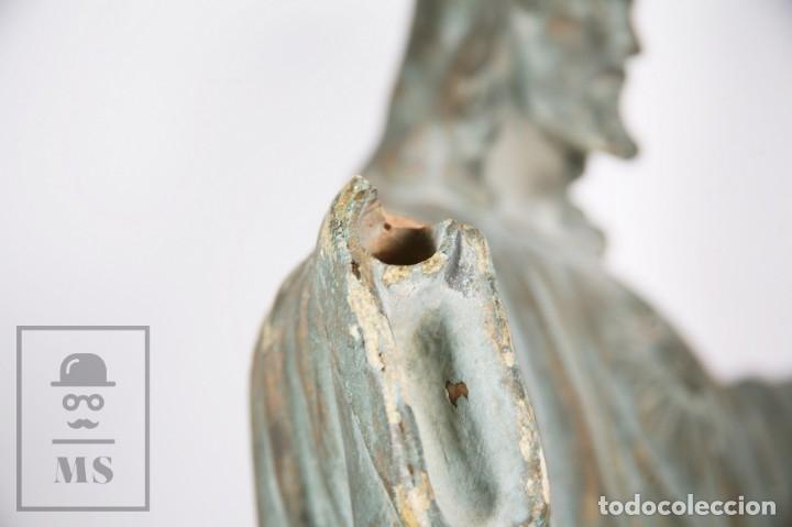 Arte: Antigua Escultura de Terracota Gran Formato - Sagrado Corazón - Policromía Verde - Siglo XIX - Foto 6 - 177880543