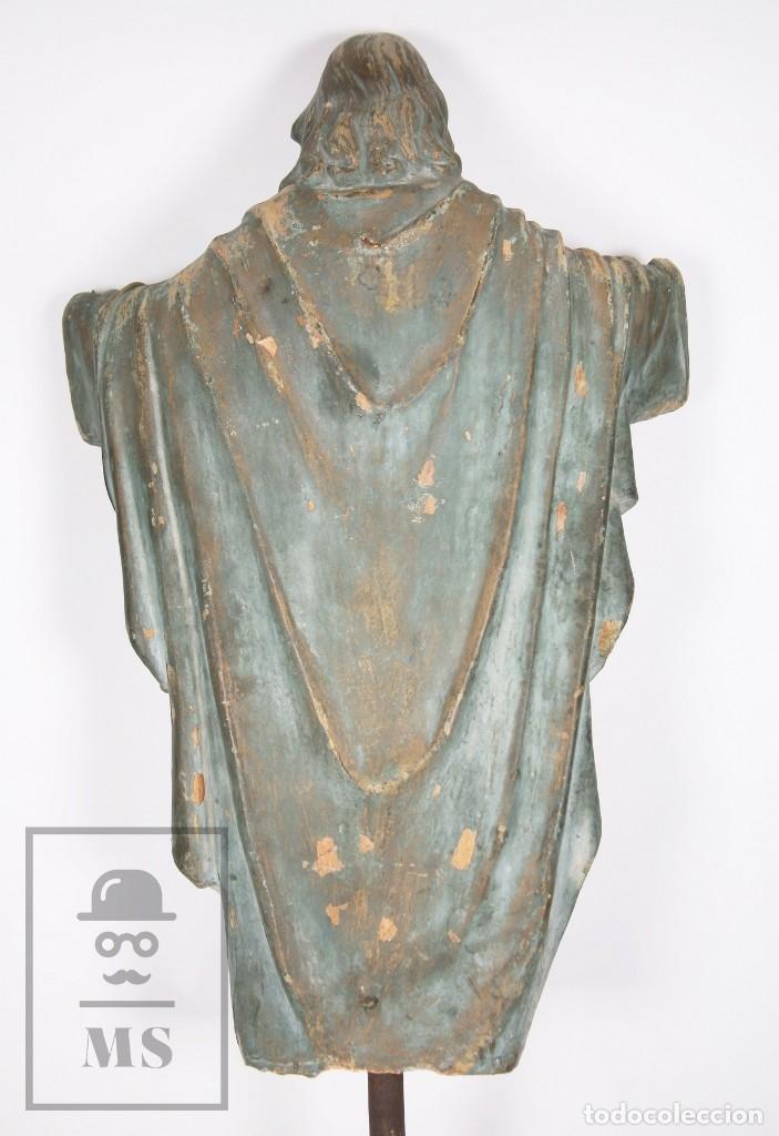 Arte: Antigua Escultura de Terracota Gran Formato - Sagrado Corazón - Policromía Verde - Siglo XIX - Foto 7 - 177880543