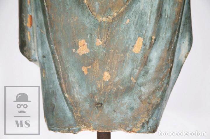 Arte: Antigua Escultura de Terracota Gran Formato - Sagrado Corazón - Policromía Verde - Siglo XIX - Foto 8 - 177880543
