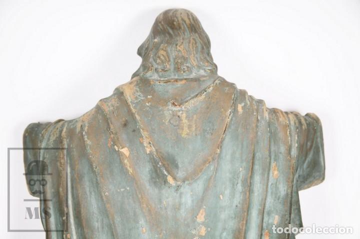 Arte: Antigua Escultura de Terracota Gran Formato - Sagrado Corazón - Policromía Verde - Siglo XIX - Foto 9 - 177880543