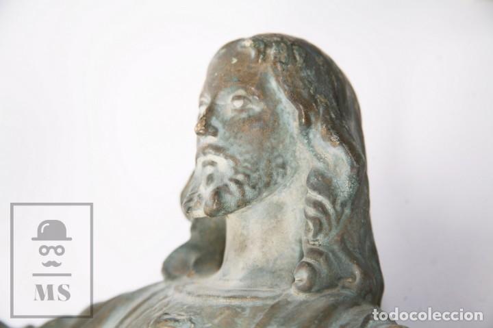 Arte: Antigua Escultura de Terracota Gran Formato - Sagrado Corazón - Policromía Verde - Siglo XIX - Foto 11 - 177880543