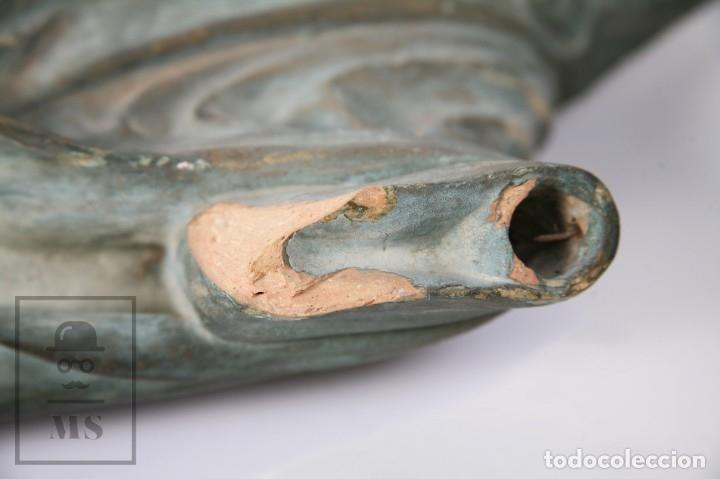 Arte: Antigua Escultura de Terracota Gran Formato - Sagrado Corazón - Policromía Verde - Siglo XIX - Foto 12 - 177880543