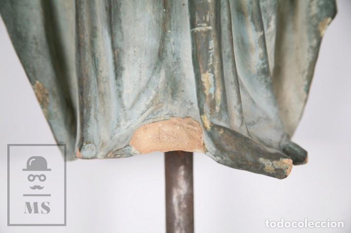 Arte: Antigua Escultura de Terracota Gran Formato - Sagrado Corazón - Policromía Verde - Siglo XIX - Foto 16 - 177880543