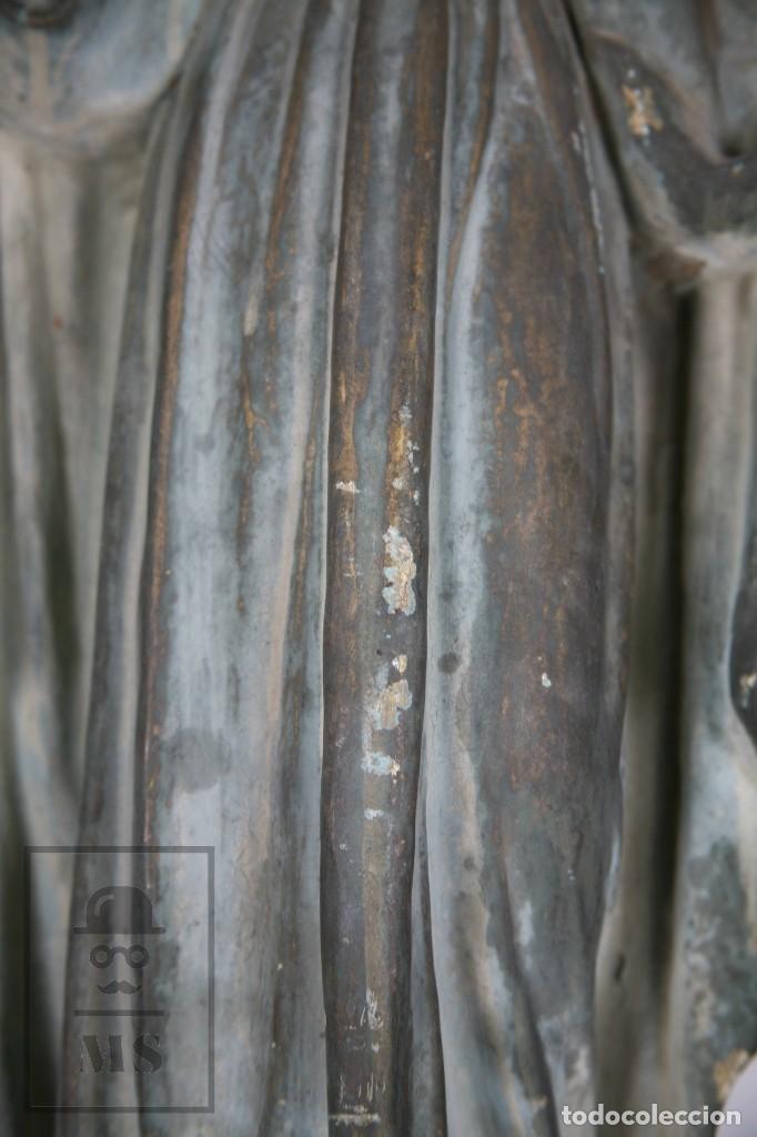 Arte: Antigua Escultura de Terracota Gran Formato - Sagrado Corazón - Policromía Verde - Siglo XIX - Foto 17 - 177880543
