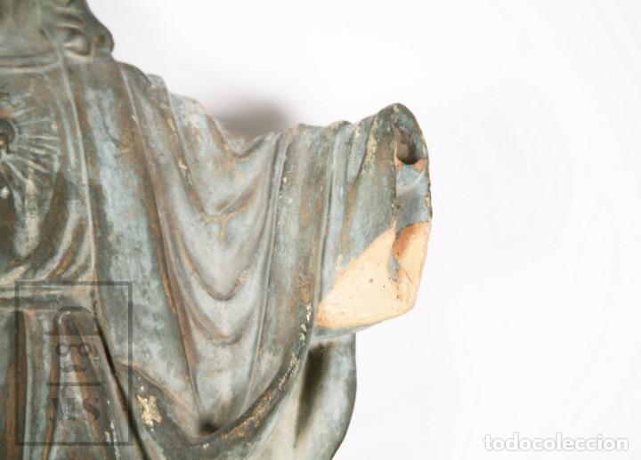 Arte: Antigua Escultura de Terracota Gran Formato - Sagrado Corazón - Policromía Verde - Siglo XIX - Foto 18 - 177880543