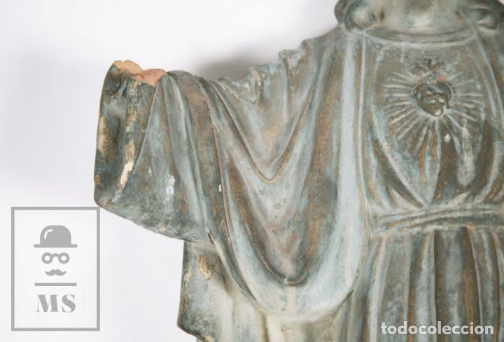 Arte: Antigua Escultura de Terracota Gran Formato - Sagrado Corazón - Policromía Verde - Siglo XIX - Foto 19 - 177880543