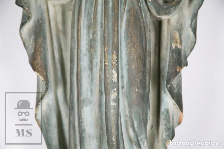 Arte: Antigua Escultura de Terracota Gran Formato - Sagrado Corazón - Policromía Verde - Siglo XIX - Foto 20 - 177880543