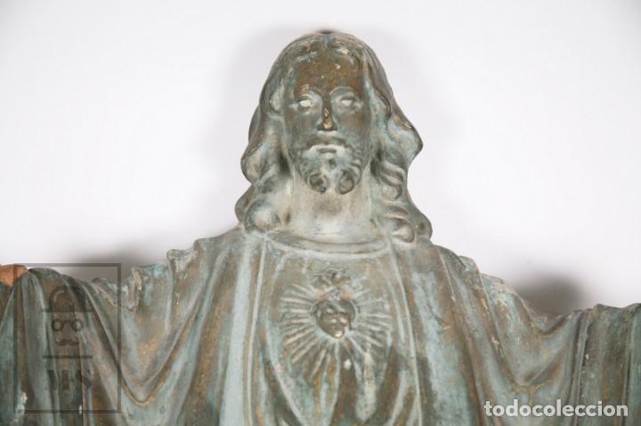 Arte: Antigua Escultura de Terracota Gran Formato - Sagrado Corazón - Policromía Verde - Siglo XIX - Foto 21 - 177880543