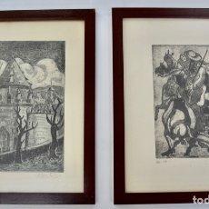 Arte: LOTE DE 2 GRABADOS ENMARCADOS. LUIS PUNTES GRACIA. PINTOR Y ESCULTOR. MUEL, ZARAGOZA. 1977-78. Lote 177938959