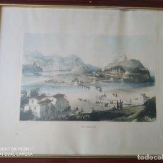 Arte: CUADRO ENMARCADO ANTIGUA LITOGRAFIA CIUDAD DE SAN SEBASTIAN AUTOR H. WILKINSON PAISAJE. Lote 177943243