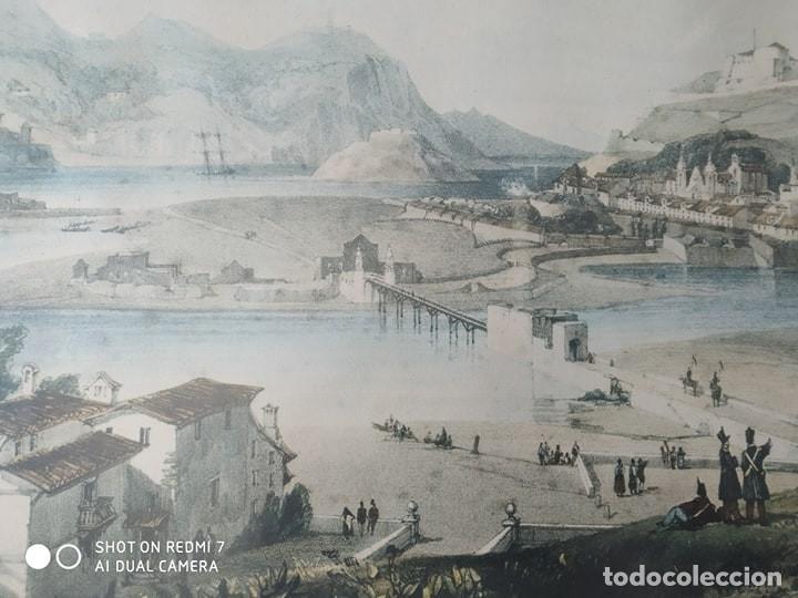 Arte: cuadro enmarcado antigua lamina litografia ciudad de San Sebastian autor H. Wilkinson paisaje - Foto 2 - 177943243