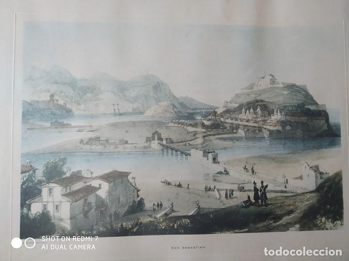 Arte: cuadro enmarcado antigua lamina litografia ciudad de San Sebastian autor H. Wilkinson paisaje - Foto 3 - 177943243