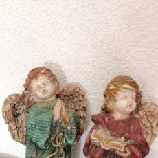 Arte: ANTIGUA PAREJA DE ANGELITOS HECHOS EN ESCAYOLA. Lote 178038597