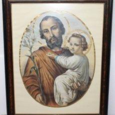 Arte: LÁMINA A COLOR ENMARCADA Y CON CRISTAL - SAN JOSÉ CON EL NIÑO - PRINCIPIOS DEL SIGLO XX. Lote 178039773