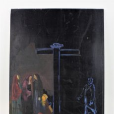 Arte: ESBOZO O APUNTE DE ESCENA RELIGIOSA CON CRUZ Y PERSONAJES, PINTURA SOBRE MADERA, SIN FIRMAR.. Lote 178047348