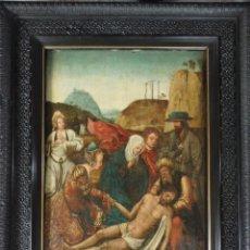 Arte: EL DESCENDIMIENTO DE CRISTO. ÓLEO SOBRE TABLA DE LA ESCUELA FLAMENCA DEL SIGLO XVI. MIDE 50 X 35 CM.. Lote 178069622