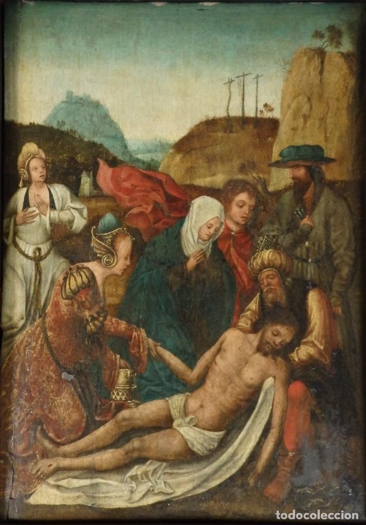 Arte: El Descendimiento de Cristo. Óleo sobre tabla de la escuela flamenca del siglo XVI. Mide 50 x 35 cm. - Foto 2 - 178069622