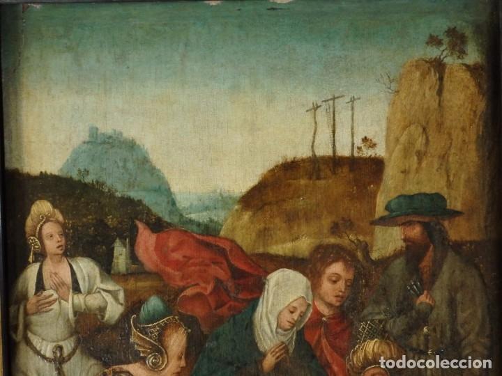 Arte: El Descendimiento de Cristo. Óleo sobre tabla de la escuela flamenca del siglo XVI. Mide 50 x 35 cm. - Foto 3 - 178069622