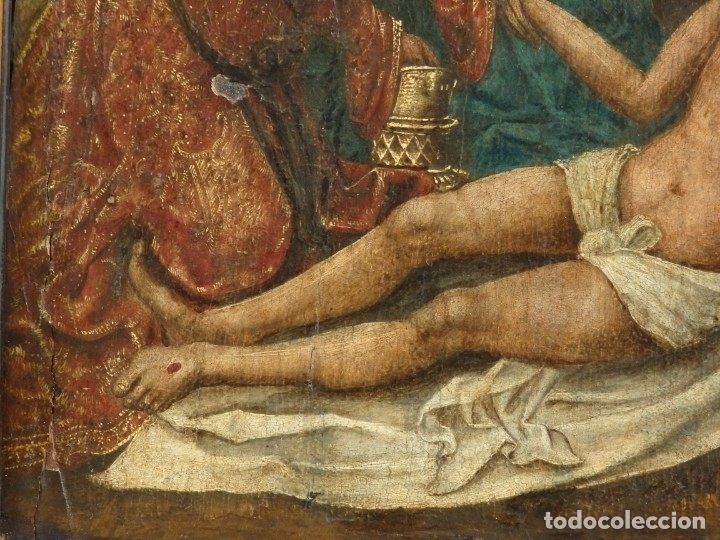 Arte: El Descendimiento de Cristo. Óleo sobre tabla de la escuela flamenca del siglo XVI. Mide 50 x 35 cm. - Foto 8 - 178069622