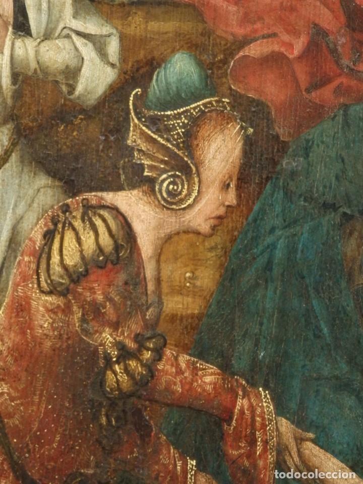 Arte: El Descendimiento de Cristo. Óleo sobre tabla de la escuela flamenca del siglo XVI. Mide 50 x 35 cm. - Foto 13 - 178069622