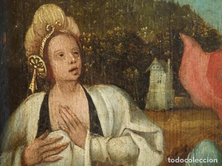 Arte: El Descendimiento de Cristo. Óleo sobre tabla de la escuela flamenca del siglo XVI. Mide 50 x 35 cm. - Foto 18 - 178069622