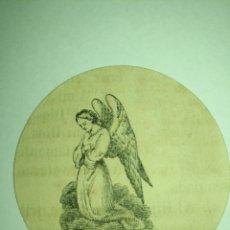 Arte: MINIATURA 5 CM ANTIGUO GRABADO RELIGIOSO SIGLO XIX PARA ENMARCAR, DETENTES O RELICARIOS - ANGEL. Lote 178176517