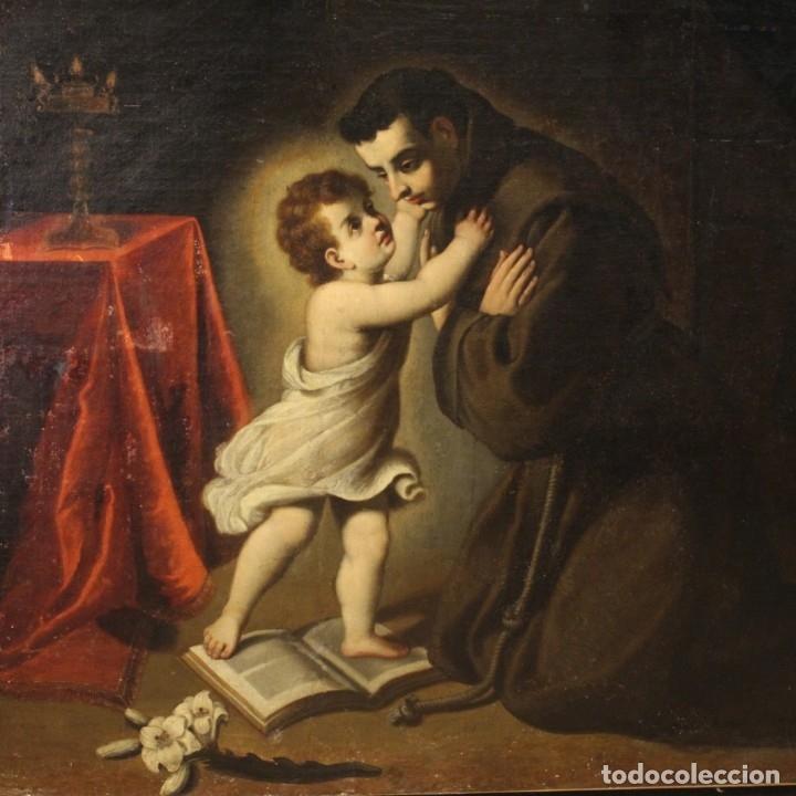 PINTURA RELIGIOSA ITALIANA ANTIGUA SAN ANTONIO DEL SIGLO XVIII (Arte - Arte Religioso - Pintura Religiosa - Oleo)