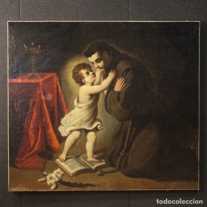 Arte: Pintura religiosa italiana antigua San Antonio del siglo XVIII - Foto 2 - 178183058