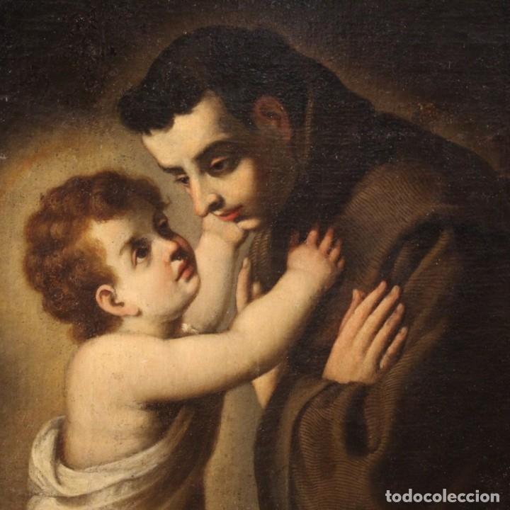 Arte: Pintura religiosa italiana antigua San Antonio del siglo XVIII - Foto 3 - 178183058