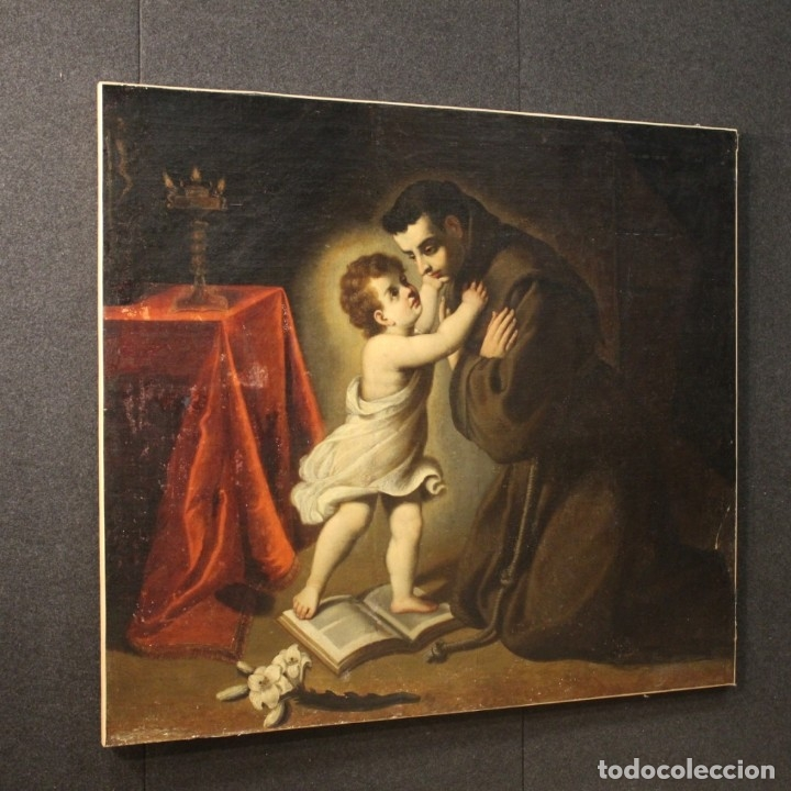Arte: Pintura religiosa italiana antigua San Antonio del siglo XVIII - Foto 9 - 178183058