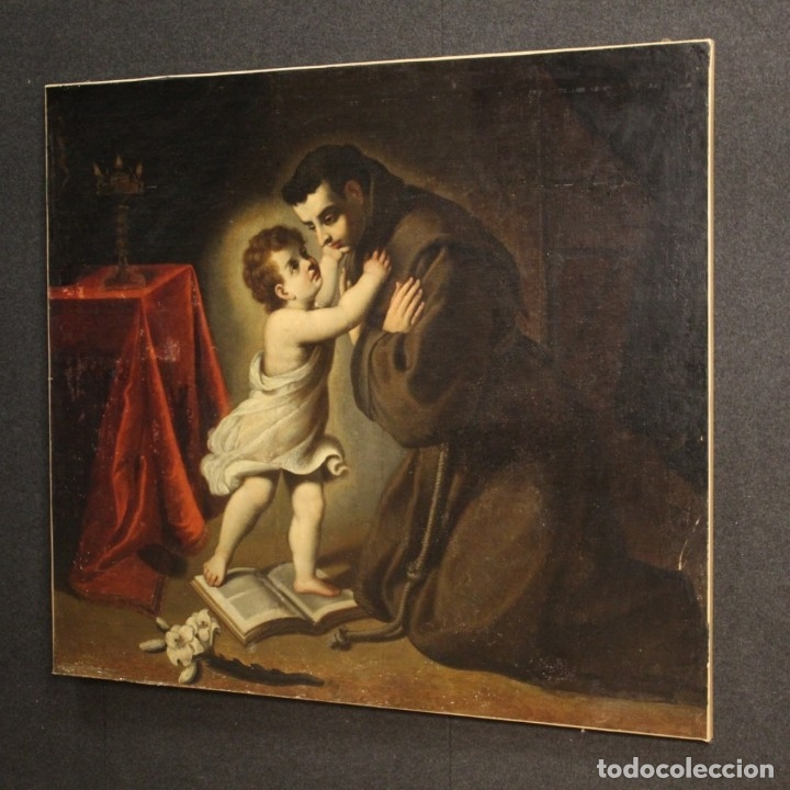 Arte: Pintura religiosa italiana antigua San Antonio del siglo XVIII - Foto 10 - 178183058