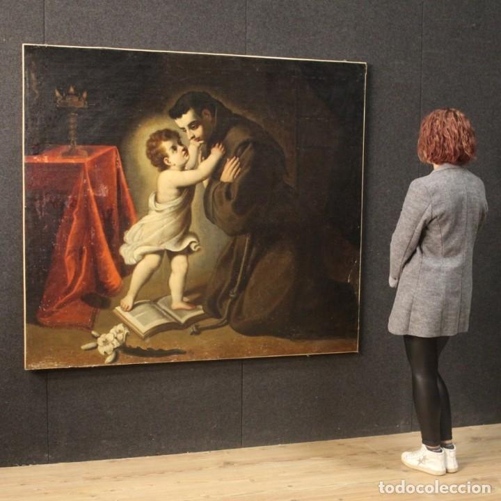 Arte: Pintura religiosa italiana antigua San Antonio del siglo XVIII - Foto 11 - 178183058