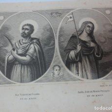 Arte: LÁMINA LITOGRAFÍA RELIGIOSA SAN VICENTE DE COLIBRE Y SANTA INES DE MONTE-PULCIANO. Lote 178183895