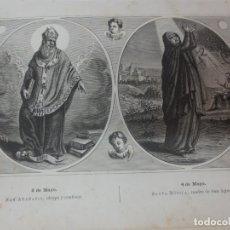 Arte: LÁMINA LITOGRAFÍA RELIGIOSA SAN ATANASIO Y SANTA MONICA. Lote 178185597