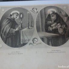 Arte: LÁMINA LITOGRAFÍA RELIGIOSA SAN PASCUAL BALLON Y SAN FELIX CANTALICIO. Lote 178186347