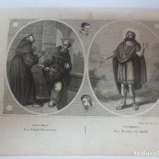 Arte: LÁMINA LITOGRAFÍA RELIGIOSA SAN PEDRO REGALADO Y SAN BONIFACIO. Lote 178186746