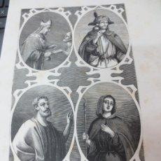 Arte: LÁMINA LITOGRAFÍA RELIGIOSA SAN PACIENTE, SAN FELIPE, SAN DIDO, SANTA EUGENIA. Lote 178200520