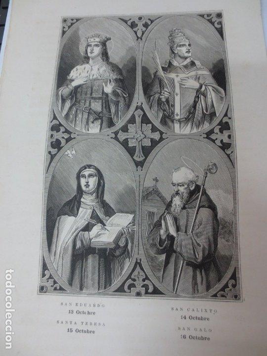 LÁMINA LITOGRAFÍA RELIGIOSA SAN EDUARDO, SANTA TERESA, SAN CALIXTO Y SAN GALO (Arte - Arte Religioso - Litografías)
