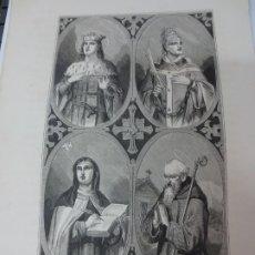 Arte: LÁMINA LITOGRAFÍA RELIGIOSA SAN EDUARDO, SANTA TERESA, SAN CALIXTO Y SAN GALO. Lote 178201776
